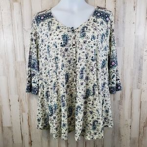 Lucky Brand Womens Top 1X Green Purple Boho